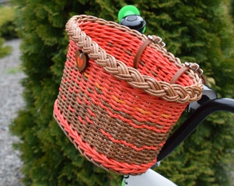 "Red bicycle basket children ""Forest Fairy's basket""  Bike basket brown  Wicker basket for Bike  Colored baskets  Gift for cyclist  Bike bag"