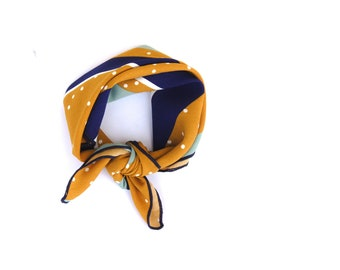 Summer Hair Accessories - Summer Hair Styles - Headscarf - Summer Head Scarf - Scarf Headband - Boho Navy and Mustard Polka Dot
