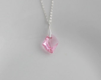 Light Pink Swarovski Crystal Cosmic Necklace; Asymmetrical Crystal Pendant; Light Pink; Sterling Silver Flat Cable Chain