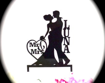 MADE In USA, Silhouette Wedding Cake Topper, Personalized With YOUR Family Last Name, Mr and Mrs Wedding Cake Topper Bride and Groom