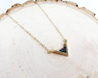 Delicate Handmade Dainty Necklace Gold Chain with Geometric Black Marble Gold Triangle Pendant