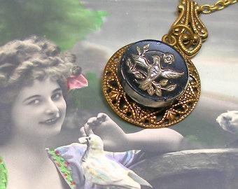1800s BUTTON necklace, Victorian glass BIRD on brass chain. Antique button jewellery.