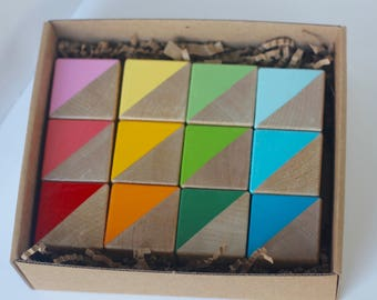BOX SET 12 Hand Painted Wooden Blocks