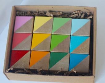 BOX SET 12 Hand Painted Wooden Blocks
