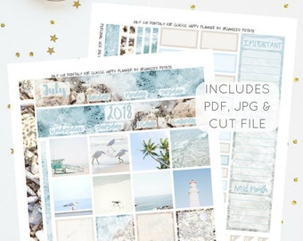 July 2018 Monthly Kit for Classic Happy Planner   Printable Planner Stickers   Includes Silhouette Cut File   Instant Download   PDF & JPG