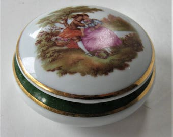 Vintage signed Limoges Porcelain trinket box, Made in France, glass jewelry box, romantic pastoral scene, Mid Century collectible, gift idea