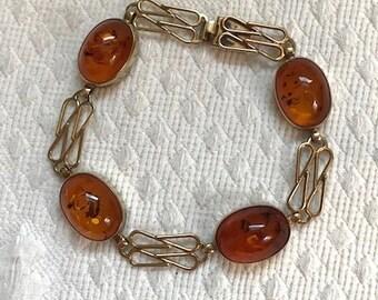 baltic amber bracelet .  amber and gold bracelet . art nouveau style bracelet . 333 gold bracelet . 8k gold bracelet . 8 inch bracelet