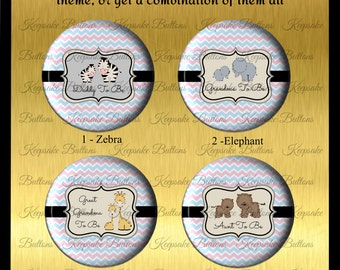 """2.25"""" Safari Shower Buttons, Baby Elephant Pin, Baby Giraffe Pin, Baby Zebra Pin, Baby Tiger Pin, Baby Animals,  Baby ShowerBaby Shower Pins"""