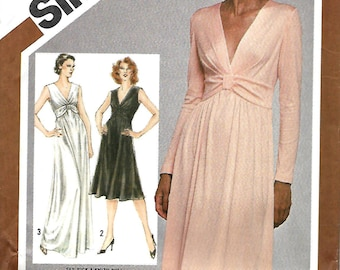 Simplicity 9829 Misses Stretch Knit Raised Waist Dress And Gown Pattern, Size 10, UNCUT