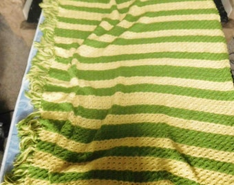Vintage Afghan, Crochet Blanket  In A Striped Pattern Green And Yellow, With Fringe ,Handmade