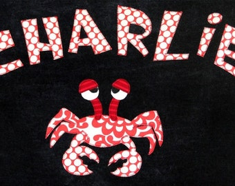 Personalized Large Black Velour Beach Towel with Crab, Personalized Bath Towel, Pool Towel, Kids Bath Towel, Baby Towel, Bridal Party Gift