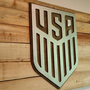 USA Soccer MLS Sign with Maple Backdrop  Metal Style Sign  MDF Board Cut Out Logo With Faux Metal Finish  Rustic Pallet Wood