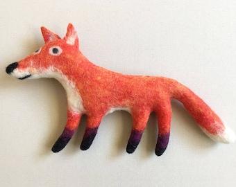 Felt Fox, stuffed animal, handmade art toy, soft sculpture, stuffed animal companion, eco friendly, home or nursery decor