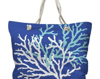 Coral Duo on Cobalt Tote Bag, Beach Tote Bag, Coastal Tote Bag, Nautical Tote Bag, Coral Branch Tote, Beach Carryall