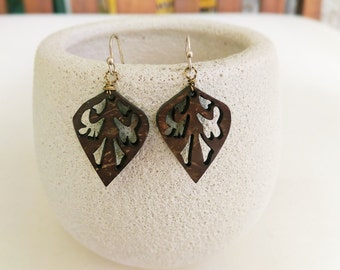 Wood Filigree Earrings