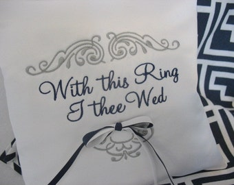 With This Ring I Thee Wed Ring Pillow