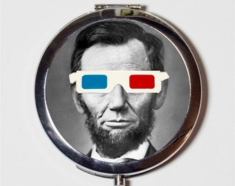Abraham Lincoln Compact Mirror - 3D Glasses Art Pop Surrealism Victorian - Pocket Mirror