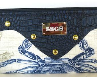 clutch bag navy blue faux leather nautical purse
