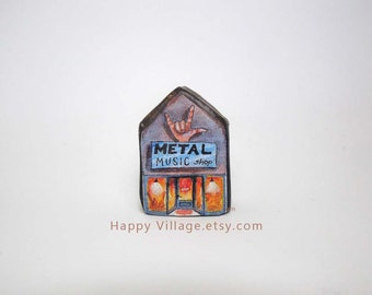Metal Music shop,Tiny house,music lover gifts,metal music,miniature clay house,tiny house,small ceramic house, housewarming gift,home decor