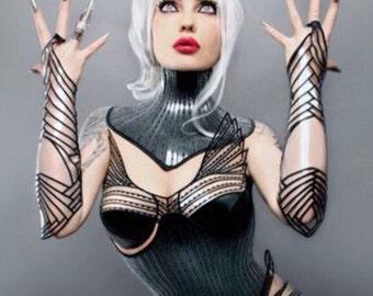 clear embroidered gauntlets arm cuffs futuristic sci fi fingerless gloves slave cuffs cybergoth steampunk