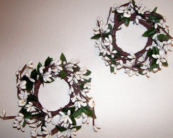 "2 Pip Berry Candle Rings Mini Wreath Ivory cream off white  2"" opening Spring"