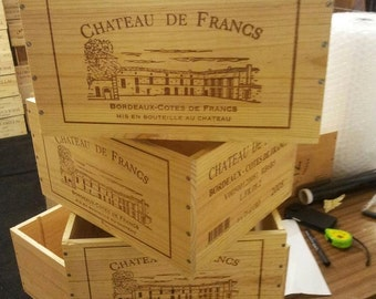 3 x Graded FRENCH WINE BOXES Used wooden crates - Storage solutions hampers shabby chic