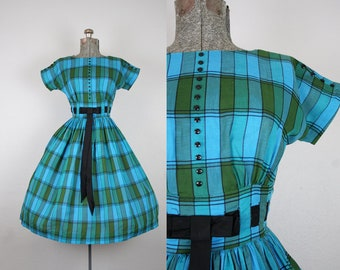 1950's Blue and Green Plaid Cotton Party Dress / Size XSmall