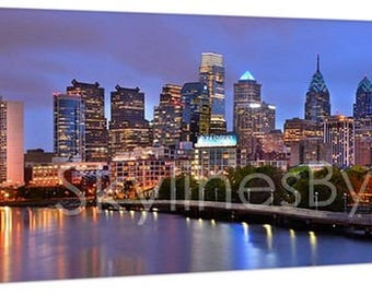 CANVAS Philadelphia Skyline at Dusk Sunset COLOR or Bw PHILLY Panoramic Photo Cityscape