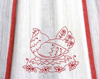 Chicken Cotton Flour Sack Hand Towel - Embroidered Towel - Redwork Chicken White Towel - Red Twill Stripes - Country Hen IV