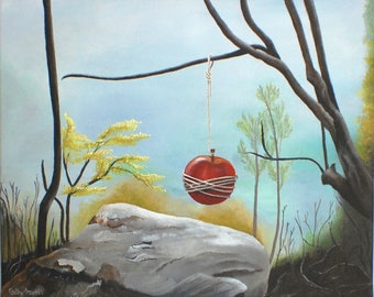 Daliesque Surreal Painting - Dystopia Wall Art Woodland Forest Surrealism Fantasy Art Symbolic Painting Surrealist Art