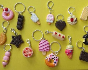 Sweet Treat Progress Keepers// Dessert Stitch Markers// Cake Knitting Markers