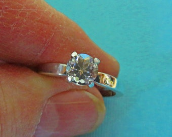 Topaz Ring - White Topaz & Sterling Silver Ring - 6mm Round Topaz Ring Size 8