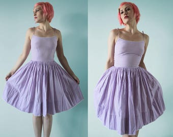 Early 1960s Lilac Gingham Sundress