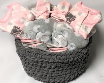 Elephant baby girl gift basket etsy twin baby girl gift basket elephant themed baby gift twin baby gift basket negle Image collections