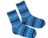 Gift ideas for men, boot socks, wool blue socks, boho socks, men socks, patterned socks, knit cozy socks, athletic socks, charity socks,