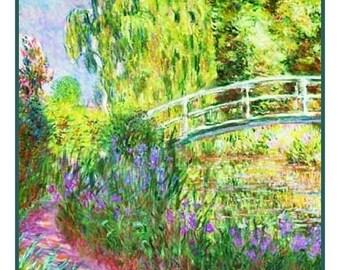 SPRING SALE Digital DOWNLOAD Impressionist Claude Monet's Japanese Bridge detail Counted Cross Stitch Chart / Pattern
