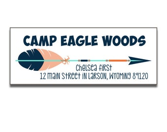 Personalized Camp Address Labels, Tribal Arrow Theme, Overnight Camp Return Address Labels, Boy or Girl, Address Labels
