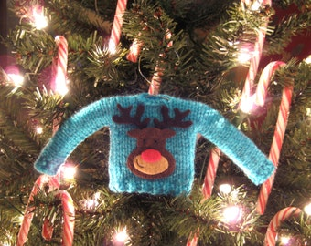 Mini Knitted Christmas Sweater Ornament in Light Blue Rudolph, Ugly Sweater, Holiday Decorations, Christmas Gifts, Handmade, Reindeer