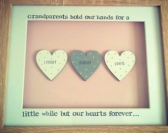 Grandparents box frame personalised gift hearts