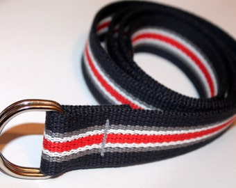 Kids Striped Webbing Belt Navy Stripe Webbing Belt Boys D Ring Belt Belt Kids Striped Belt