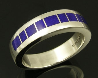 Lapis Wedding Ring in Sterling Silver, Man's Lapis Ring, Lapis Inlay Ring, Lapis Wedding Ring, Lapis Wedding Band