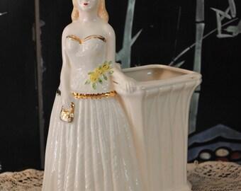 1950s Elegant Lady Vase