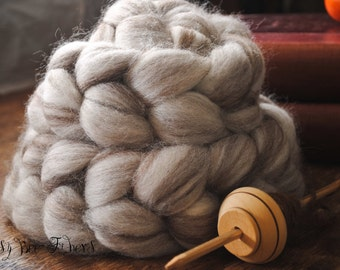 Blue Face Leicester Undyed Natural Wool Roving Combed Top Spinning Wool for Felting Fiber Humbug Blended Top - 4 oz