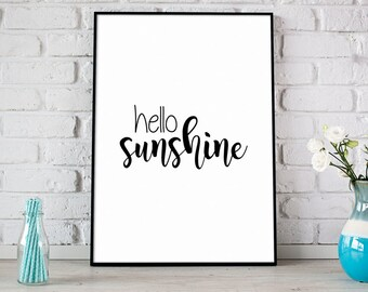 Hello Sunshine Print, Summer Printable Art, Digital Print, Instant Download, Black & White, Modern Home Decor, Happy Summer Print - (D071)