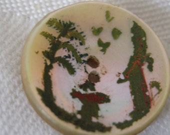 ANTIQUE Painted Iridescent Shell BUTTON