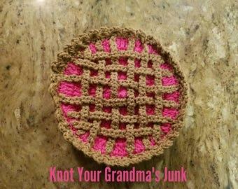 Strawberry Pie Potholder, Strawberry Pie, Crochet Potholder, Potholder