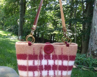 Felted Tote Bag Knitted Plaid with Leather Handles in Beige, White, Burgundy