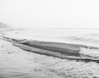 "Black And White Wave Photograph, Beach Decor, Beach House, California Coast, Coastal Wall Art, Black White Ocean, Gray White ""Wave Break"""