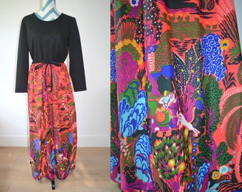 Vintage 1970s Maxi Long Sleeve Dress with Psychedelic Floral Print Red Bright Colorful Skirt and Black Top - Joan Curtis - Bohemian Boho