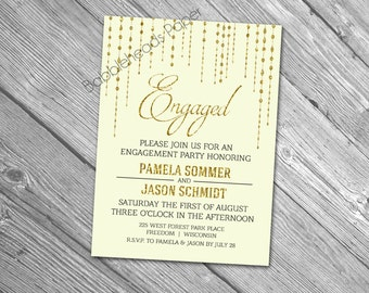 Elegant Gold Sparkle Engagement or Anniversary Party Invitation or Save the Date